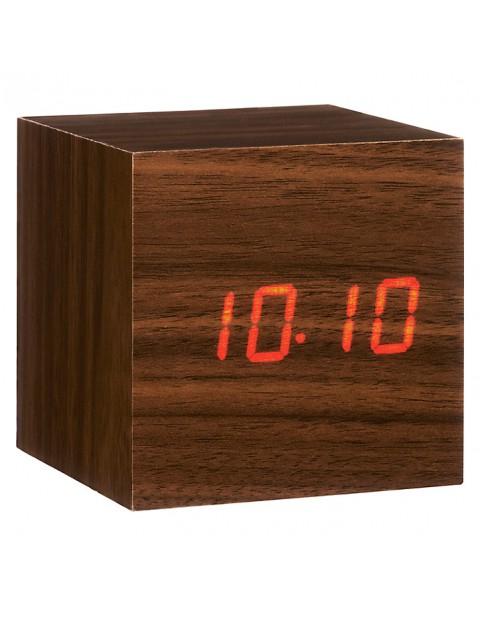 Gingko Click Clock Cube LED Alarm Clock, Walnut Red