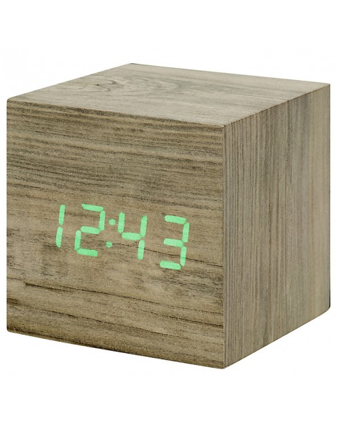Gingko Click Clock Cube LED Alarm Clock, ASh