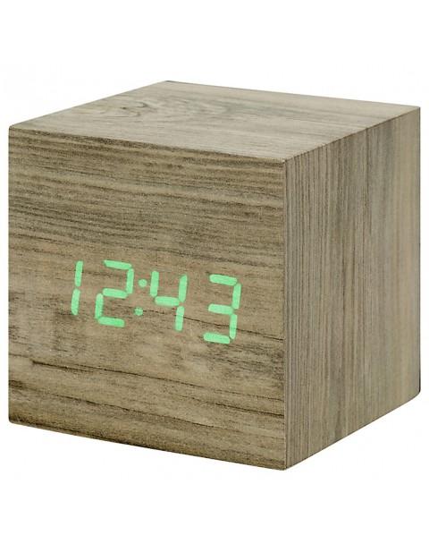 Gingko Click Clock Cube LED Alarm Clock, ASh