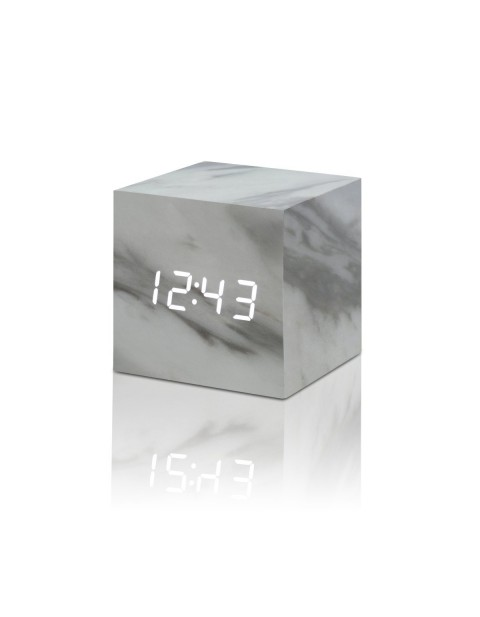GINGKO CLICK CLOCK CUBE LED ALARM CLOCK,  marble