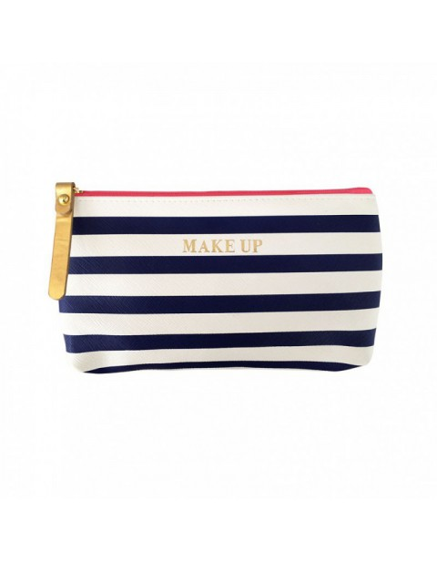 Bombay Duck All Aboard! Navy and White Stripe Make Up Bag