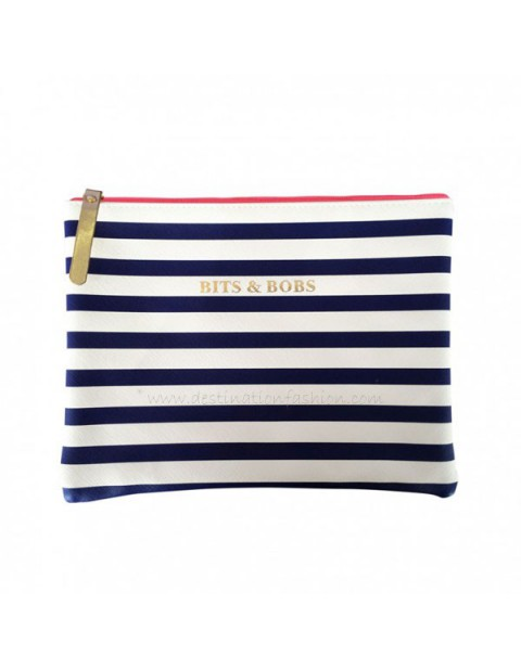 Bombay Duck All Aboard! Stripy Navy Blue Bits & Bobs Large Flat Pouch