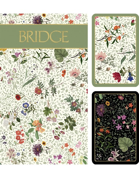 Caspari Bridge set English Country Garden Cards Bridge Playing cards with scoring pads and pencils