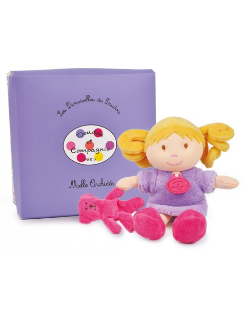 DOUDOU ET COMPAGNIE MINIATURE DOLLS WITH TEDDY BEARS Orchidee
