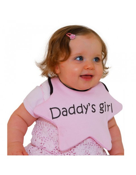 Beauty & the Bib, baby pink star with daddy's girl written on