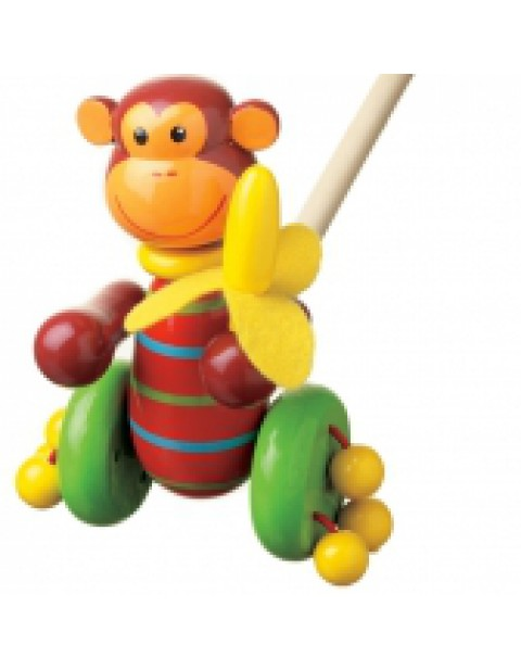 Orange Tree Toys Monkey Pushalong toy