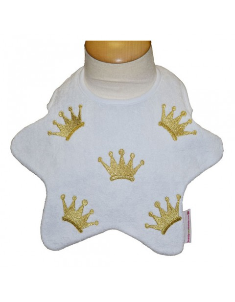 Beauty & the Bib Royal bib, baby blue star with gold crowns