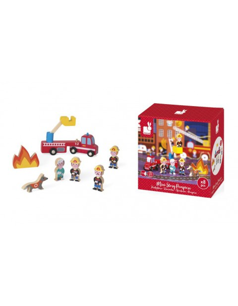 Janod FIREMEN MINI STORY PLAYSET - 8 PIECES