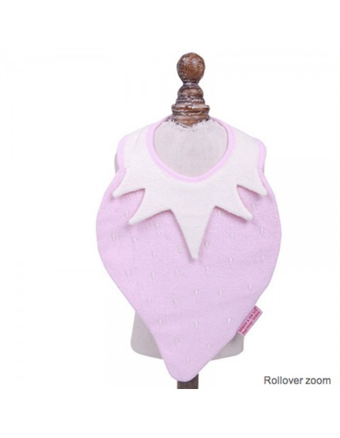 Beauty & the Bib strawberry bib baby pink  & cream